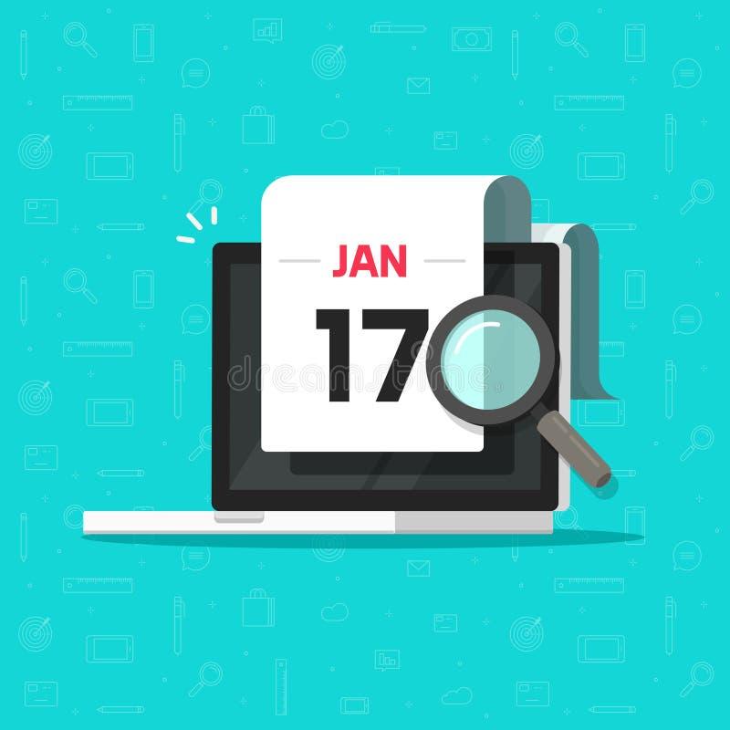Cerca Calendario.Computer Con Il Vetro Della Lente Della Data Di Calendario