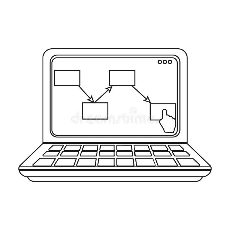 Computer con lo schema di muovere le merci La logistica ed icona della consegna la singola nel profilo disegnano il vettore isome illustrazione di stock