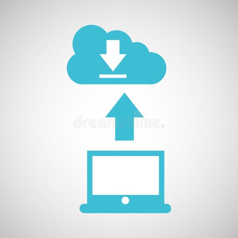Computer connected cloud download. Vector illustration eps 10 vector illustration