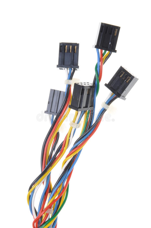 Computer connection cables and plugs. On white background royalty free stock image
