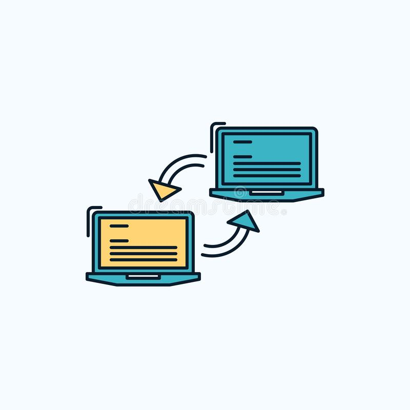 Computer, connection, link, network, sync Flat Icon. green and Yellow sign and symbols for website and Mobile appliation. vector royalty free illustration