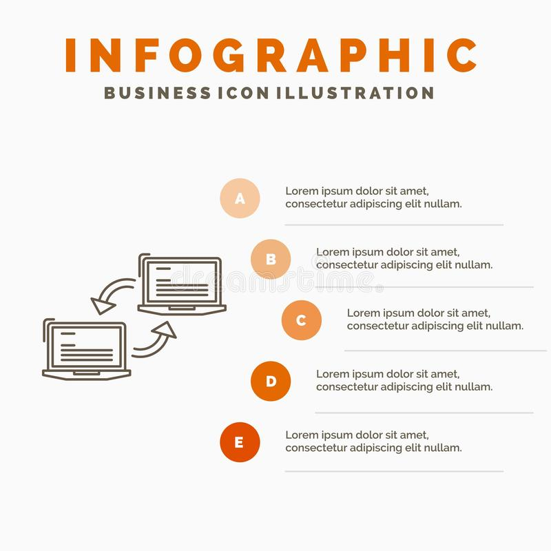Computer, connection, link, network, sync Infographics Template for Website and Presentation. Line Gray icon with Orange vector illustration
