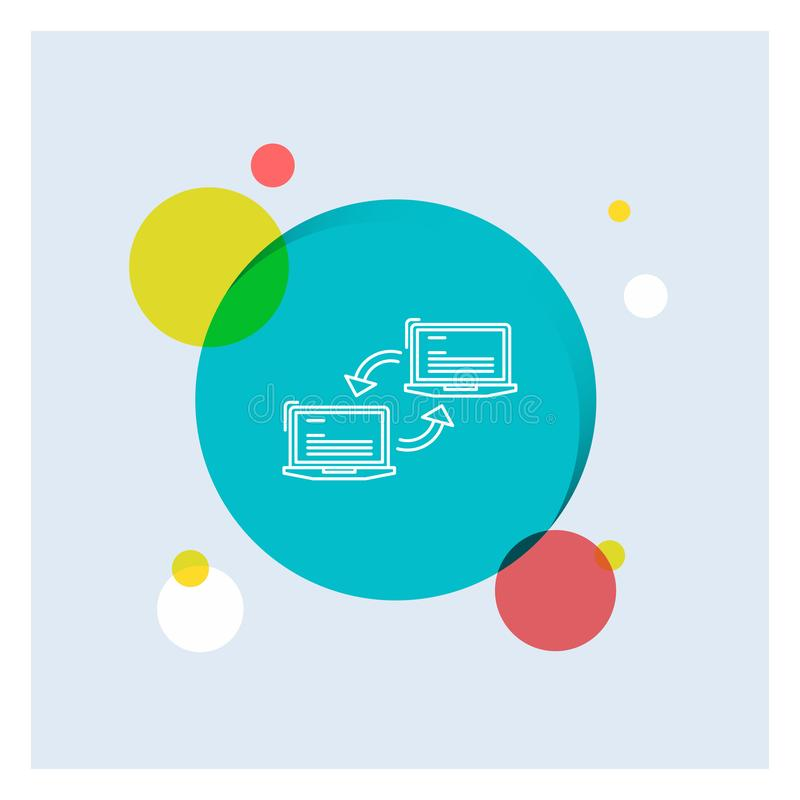Computer, connection, link, network, sync White Line Icon colorful Circle Background stock illustration