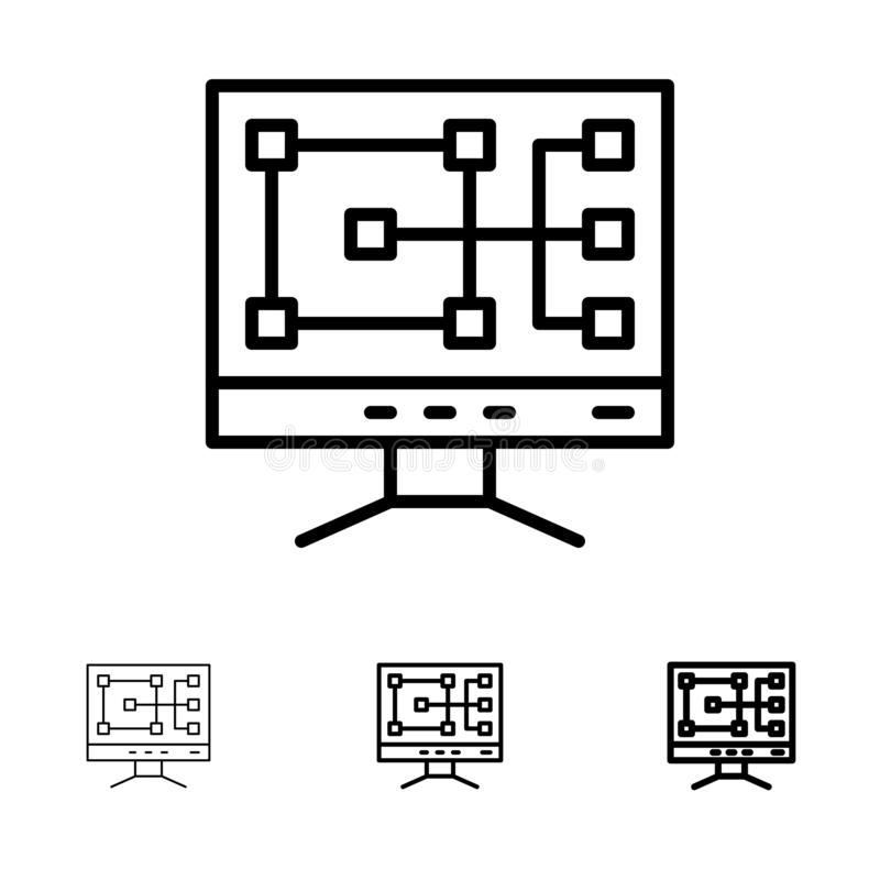 Computer, Construction, Repair Bold and thin black line icon set royalty free illustration