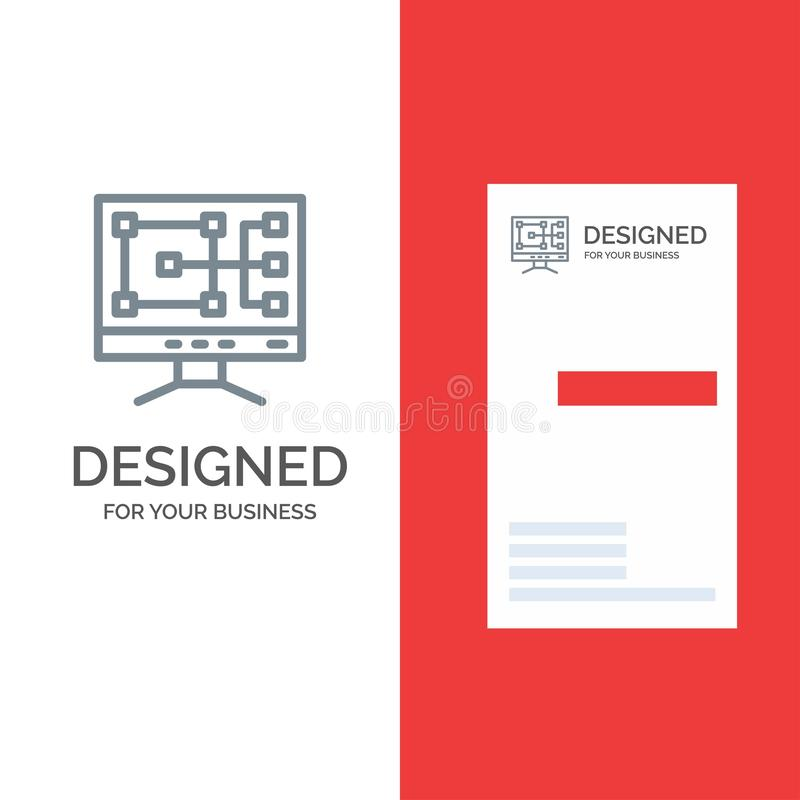 Computer, Construction, Repair Grey Logo Design and Business Card Template stock illustration
