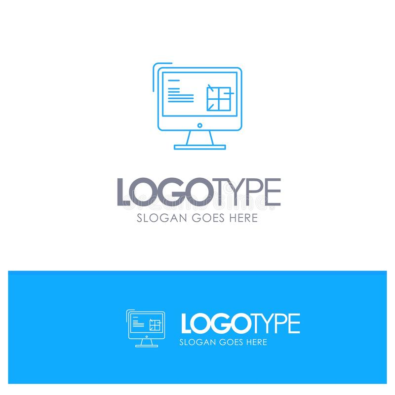 Computer, Construction, Repair, Lcd, Design Blue outLine Logo with place for tagline stock illustration