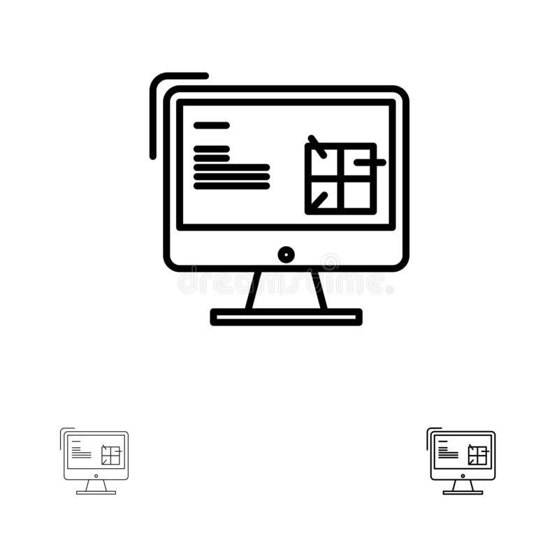 Computer, Construction, Repair, Lcd, Design Bold and thin black line icon set stock illustration