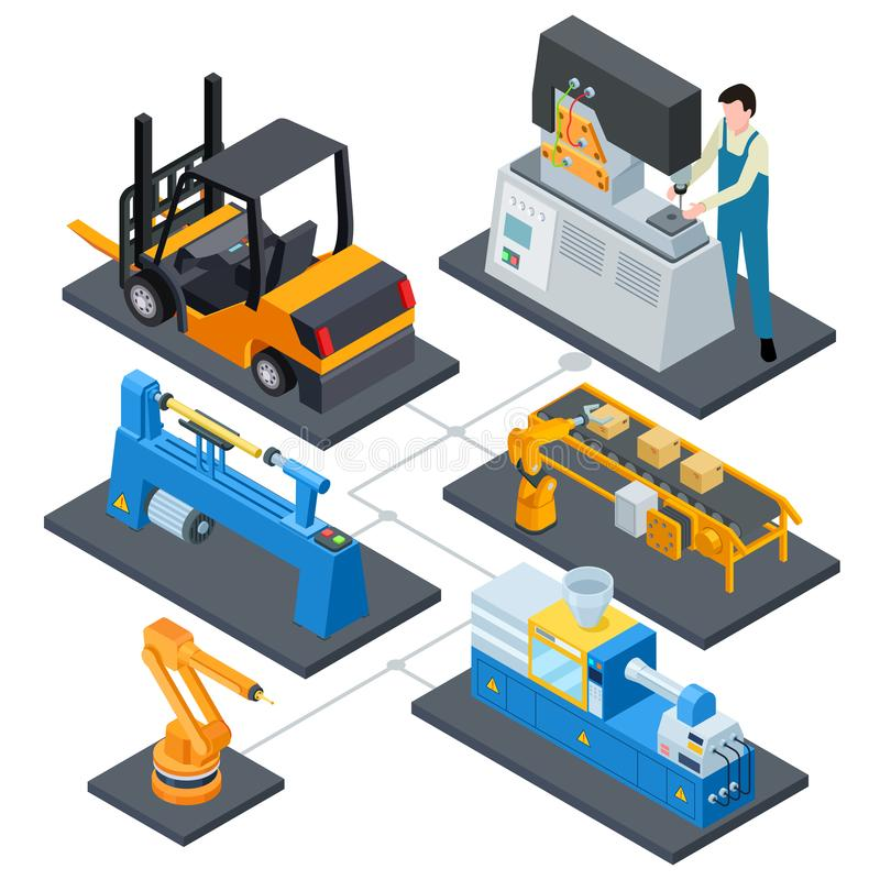 Computer controls production, factory automation processes isometric vector illustration. System plant automated, operator work on manufacture vector illustration