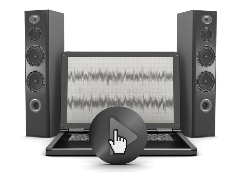 Computer correct systeem - laptop en sprekers royalty-vrije illustratie