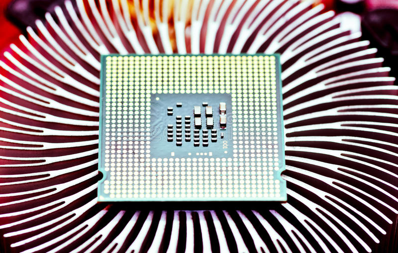 Computer cpu (central processor unit) chip. On Cooling pad royalty free stock photography