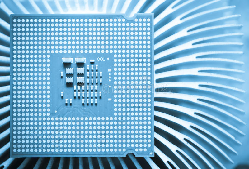Computer cpu (central processor unit) chip. On Cooling pad royalty free stock image