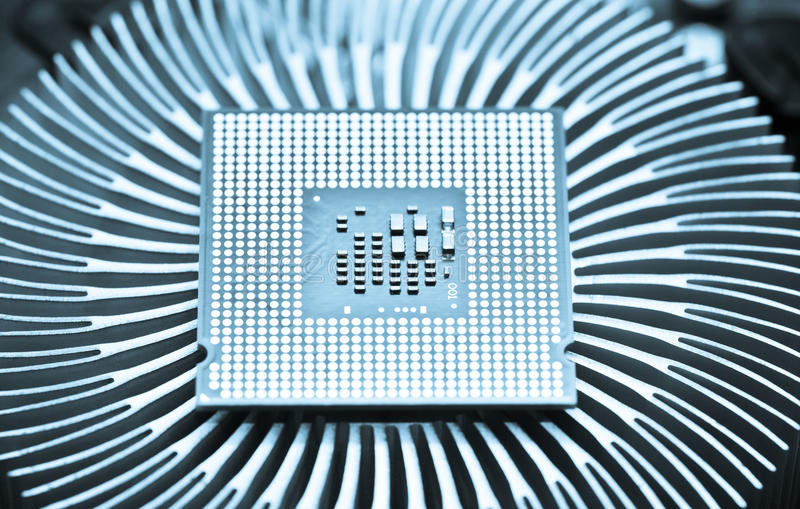 Computer cpu (central processor unit) chip. On Cooling pad stock images