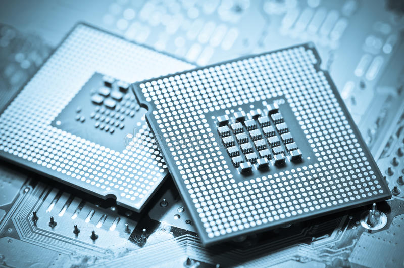 Computer cpu (central processor unit) chip. On mainboard close up royalty free stock images