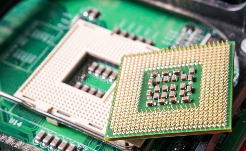 Computer CPU component close up. Shallow DOF stock image