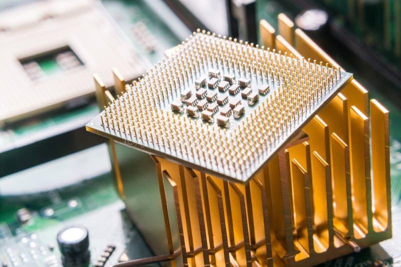 Computer CPU component close up. Shallow DOF stock photos