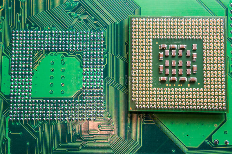 Computer CPU component close up. Shallow DOF royalty free stock photo