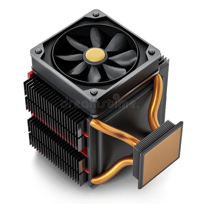 Computer CPU fan and heatsink isolated on white background. 3D illustration vector illustration