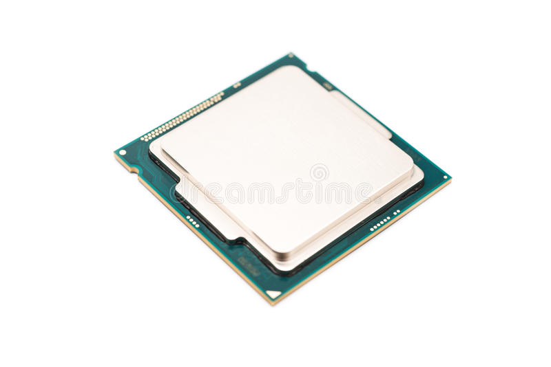 Computer CPU Isolated On White. Computer CPU (Central Processing Unit) Chip Isolated On White stock photography