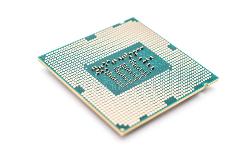 Computer CPU Isolated On White. Computer CPU (Central Processing Unit) Chip Isolated On White stock images