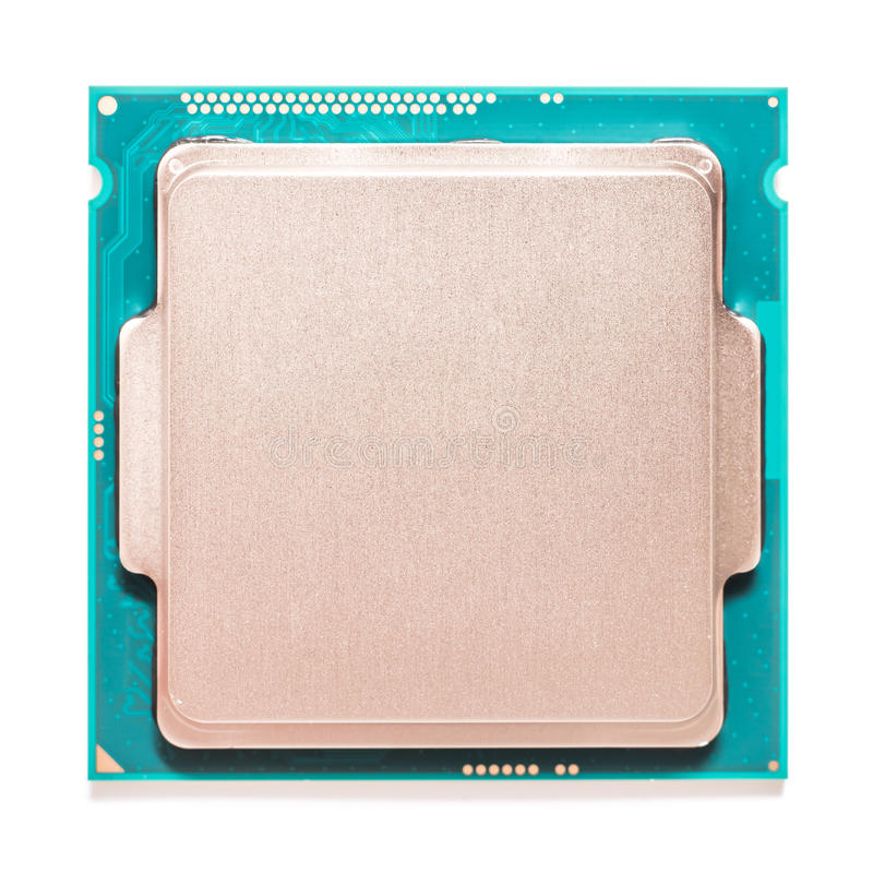 Computer CPU Isolated On White. Computer CPU (Central Processing Unit) Chip Isolated On White royalty free stock photos