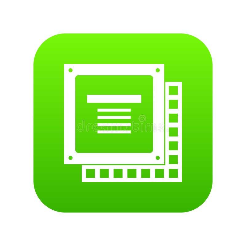Computer CPU processor chip icon digital green royalty free illustration