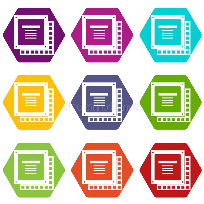 Computer CPU processor chip icon set color hexahedron vector illustration