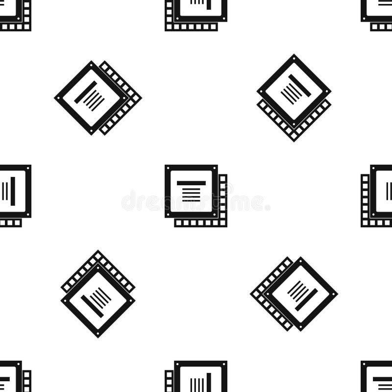 Computer CPU processor chip pattern seamless black vector illustration