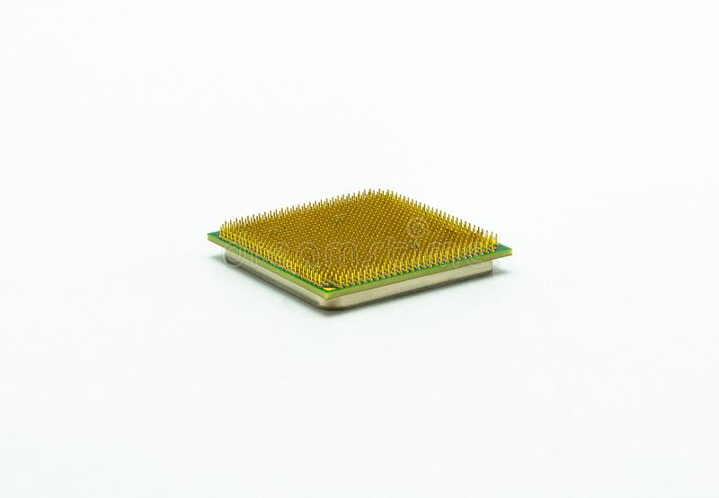 Computer CPU processor closeup, visible gold pins, isolated on white background with clipping path. stock photos