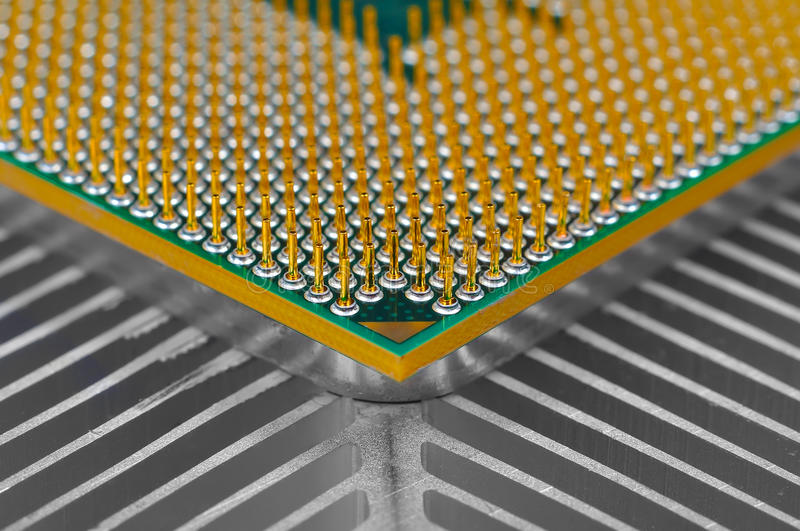 Computer CPU. Processor on cooling pad, close up royalty free stock image