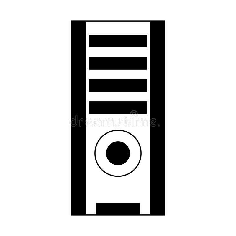 Computer cpu tower in black and white. Computer cpu tower vector illustration graphic design royalty free illustration