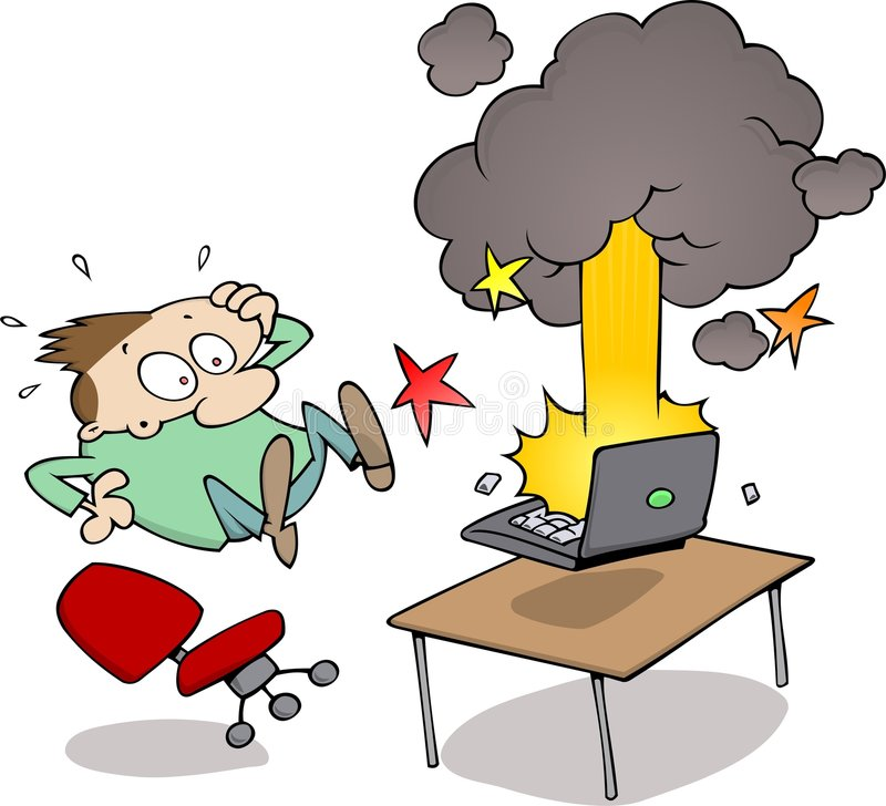 Computer crash. A laptop computer blows up in the face of a surprised cartoon character, almost falling off his chair stock illustration