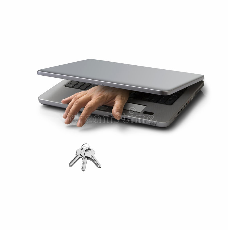 Computer crime. Hand emerging from a closed pc laptop trying to steal a key