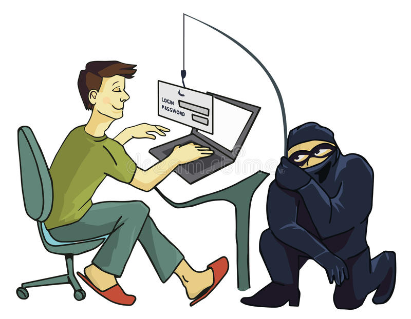 Computer Crime concept. Internet Phishing a login and password concept stock illustration