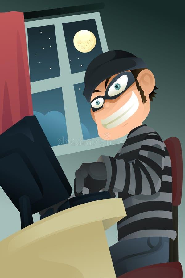 Computer criminal. A illustration of computer criminal stealing identity royalty free illustration