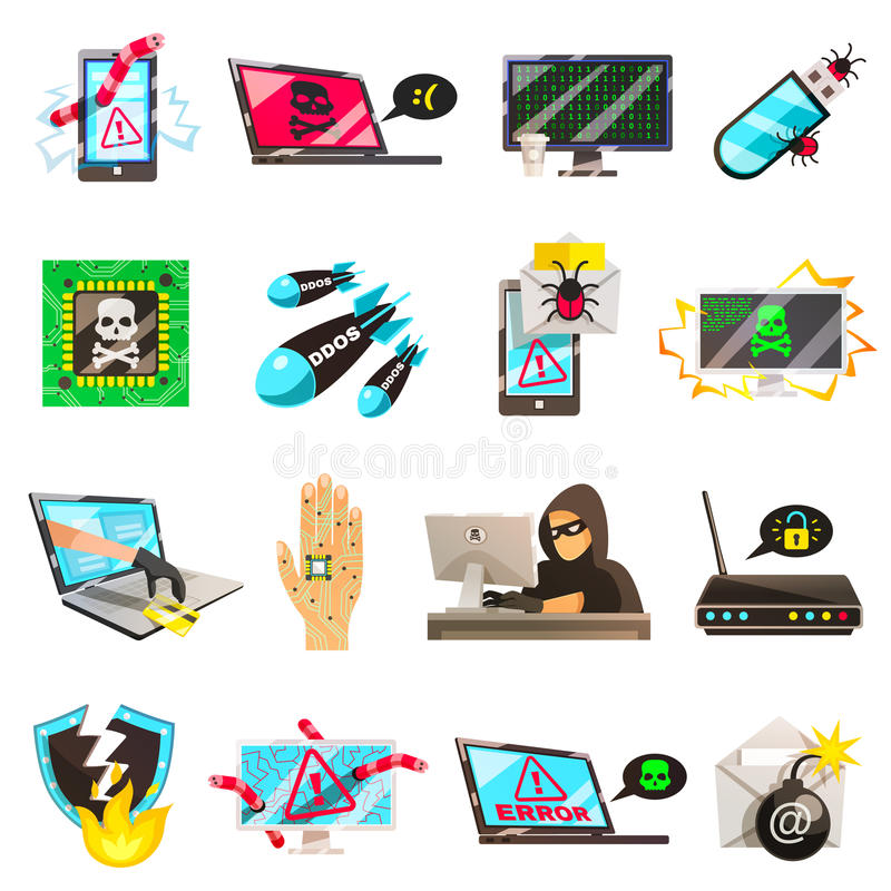 Computer Criminal Icons Collection royalty free illustration