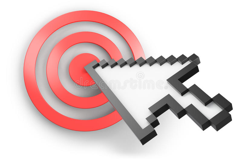 Computer cursor. Three-dimensional computer arrow cursor pointing on red target stock illustration
