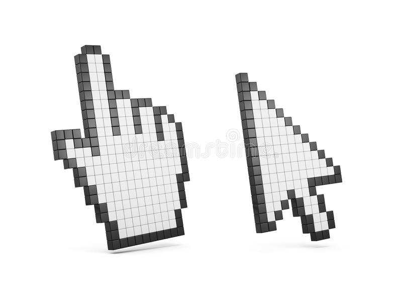 Computer cursor hand and arrow set stock illustration