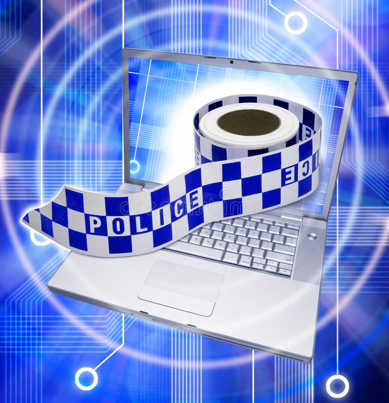 Security Computer Crime. A laptop computer with a roll of police crime scene tape coming out of the screen stock photos