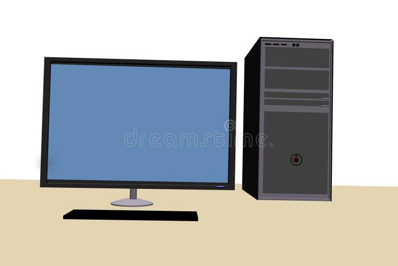 computer 3d nella vista frontale illustrazione vettoriale