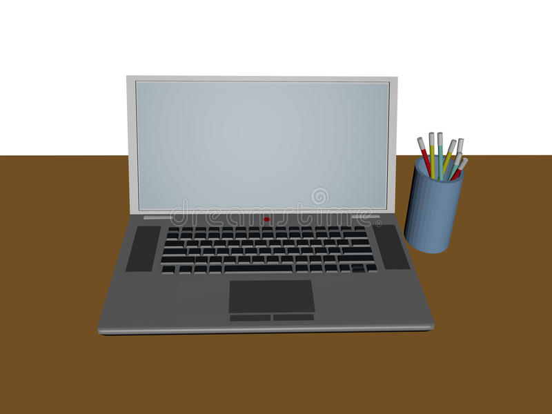 computer 3d vooraanzicht stock afbeeldingen