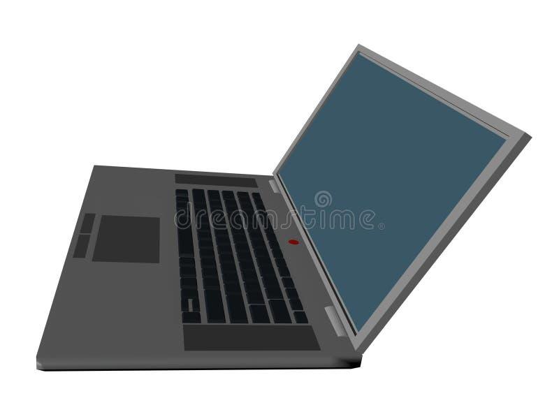 computer 3d zijaanzicht stock afbeelding