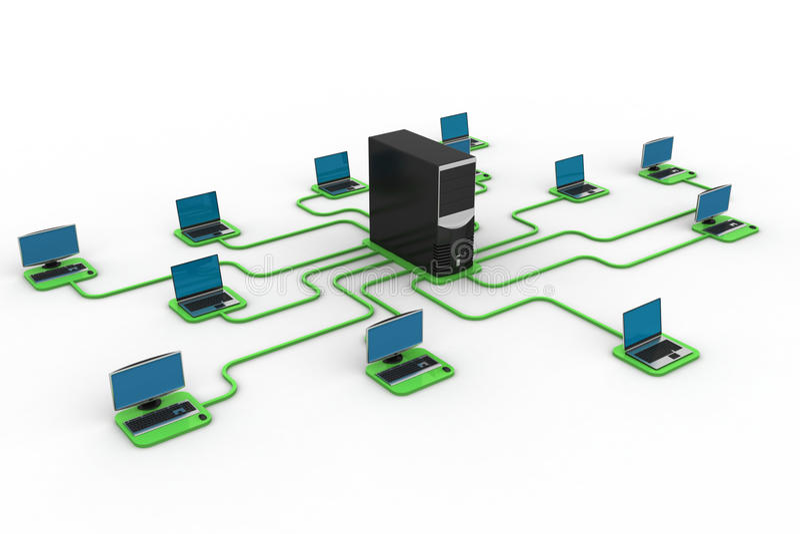Computer data centre. In white background vector illustration