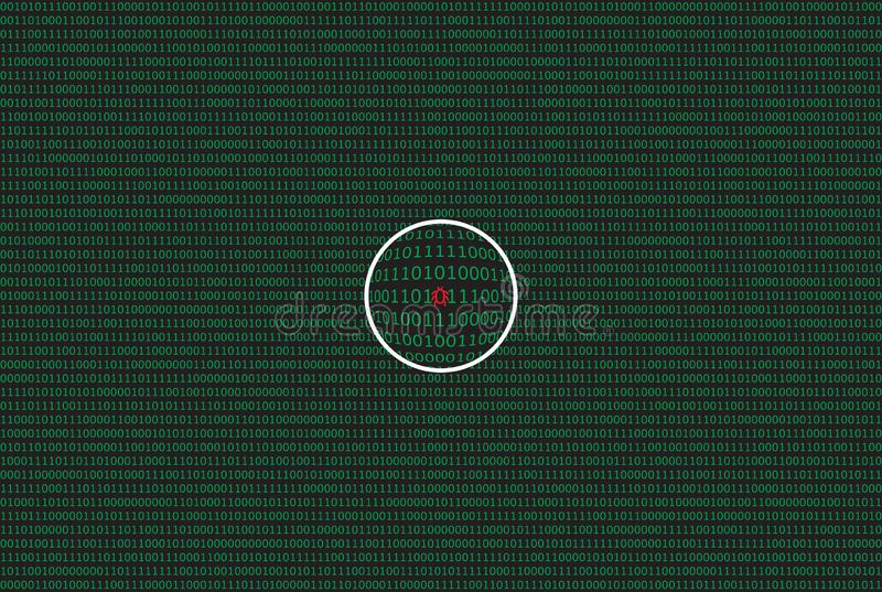 Computer data by 0 and 1 in green color on dark background. With magnifier and symbol of bug vector illustration
