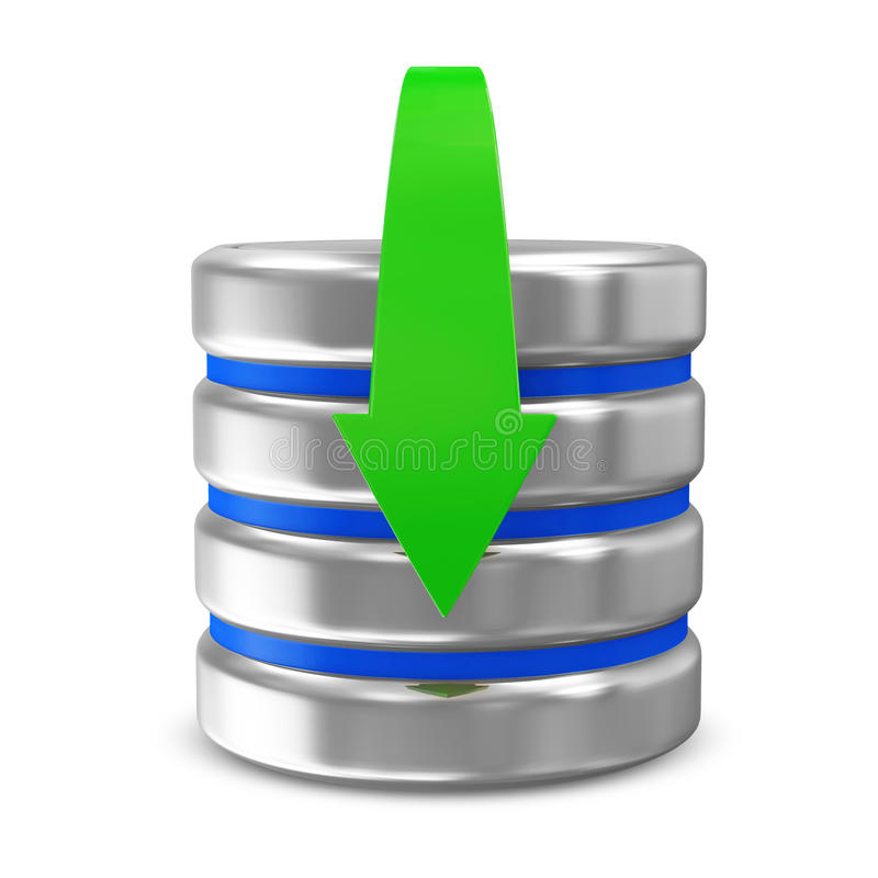Computer Database with Download Arrow. On white background royalty free illustration