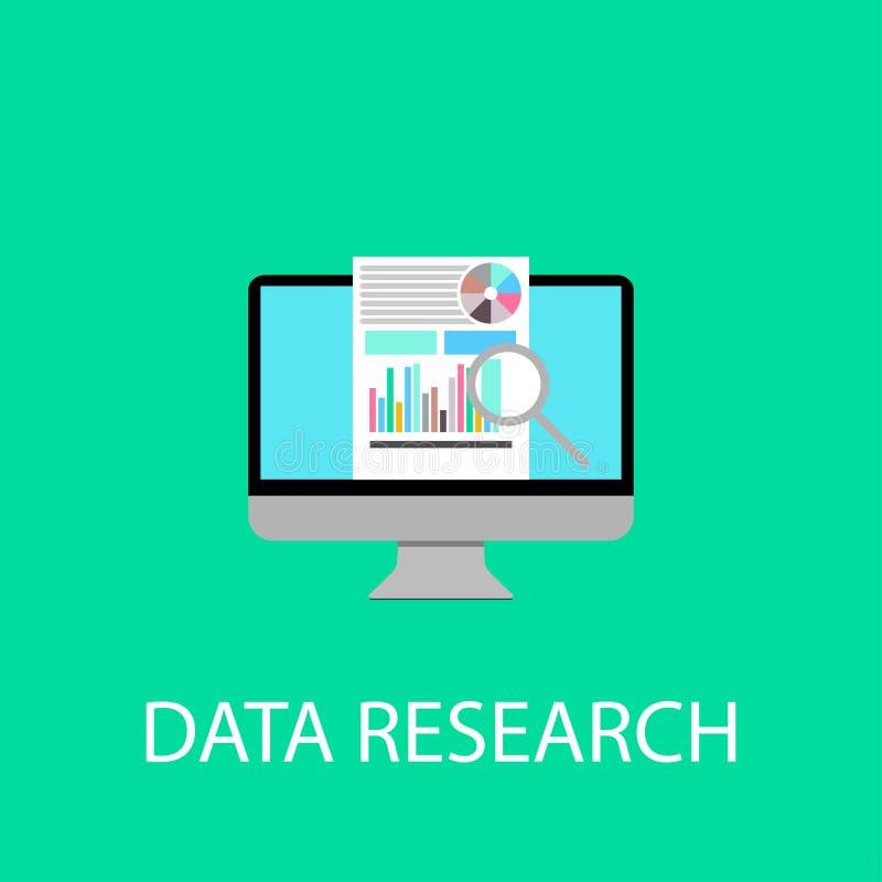 computer date research main screen flat design vector illustration