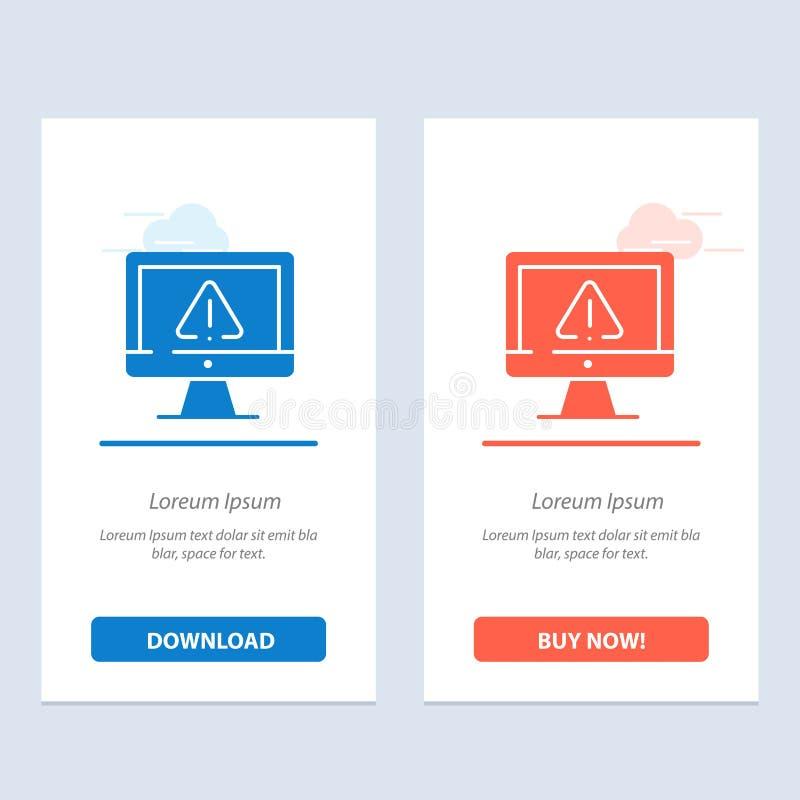Computer, Daten, Informationen, Internet, Sicherheits-Blau und rotes Download und Netz Widget-Karten-Schablone jetzt kaufen vektor abbildung