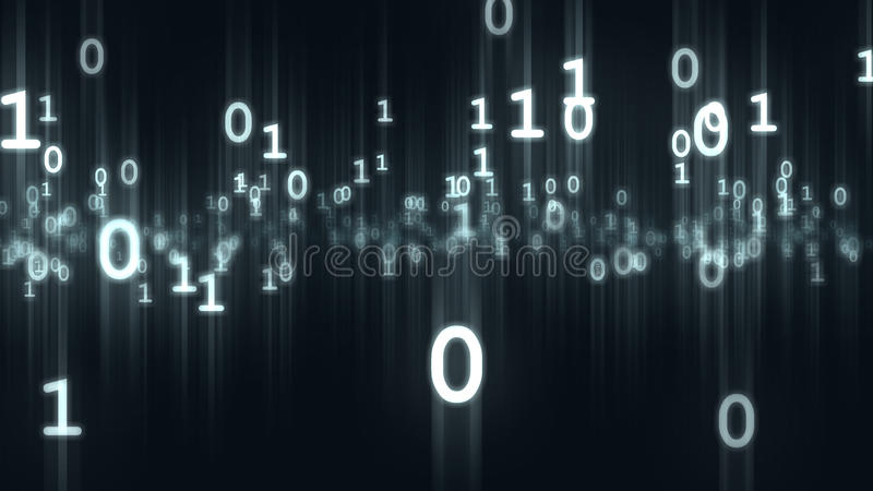 Computer de binaire beetjes en deeltjes van bytesaantallen het 3d teruggeven stock illustratie