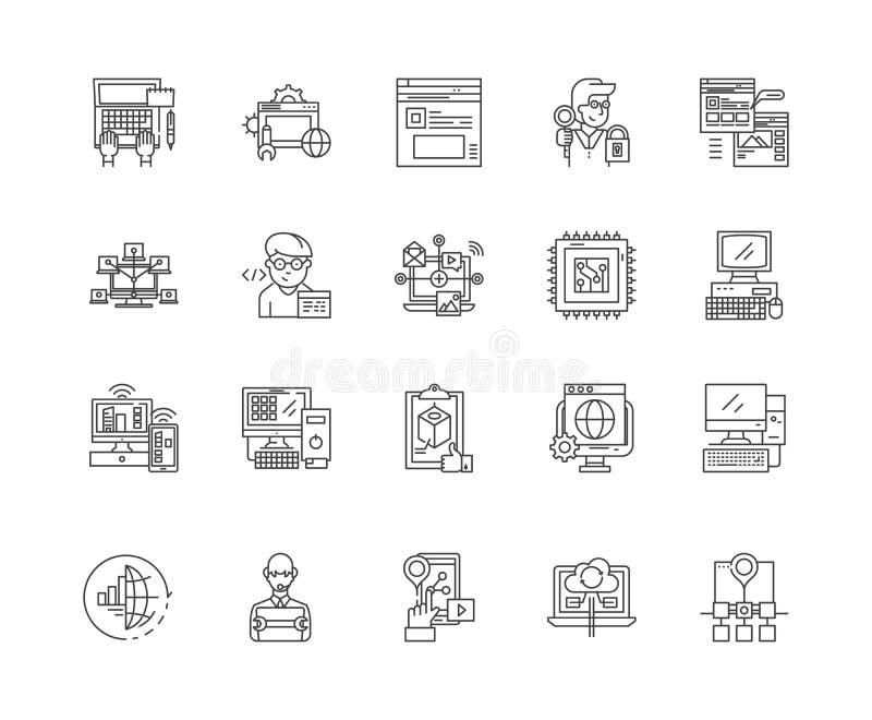 Computer de pictogrammen van de programmeringslijn, tekens, vectorreeks, het concept van de overzichtsillustratie stock illustratie