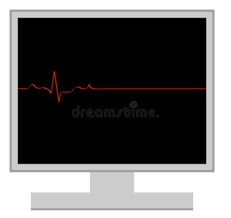 Computer death. Computer with flatline heart rhythm - computer death - vector vector illustration