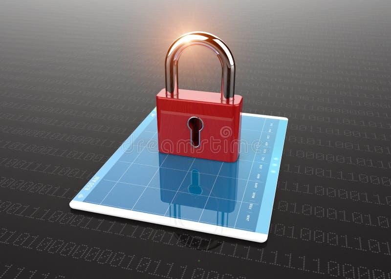 Computer del pc della compressa con il simbolo della serratura illustrazione vettoriale